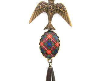 "Scottish Tartan Jewelry - Ancient Romance Series - Fraser Clan Tartan Bejeweled Soaring Bird Necklace w/Garnet Teardrop & 24"" Vintaj Chain"