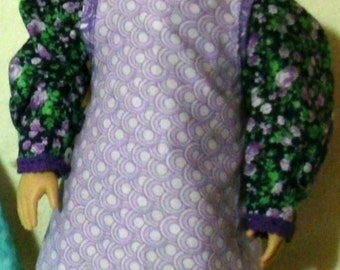 "Shades of Purple Apron and Kerchief set for 18"" doll"