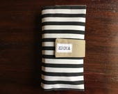 Diaper Clutch, Nappy Wallet, Black and White Striped Canvas, Personalized, Monogram, On-The-Go, Baby Shower Gift