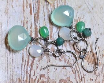 Blue Chalcedony Earrings - Chrysoprase Earrings - Blue Green Cluster Earrings - Oxidized Sterling Silver Link Earrings -Rustic Boho Earrings