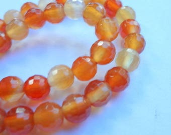 "6mm Genuine Carnelian Faceted Round Gemstone Beads - 15"" Strand"