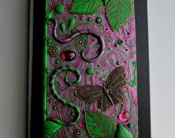 Art Journal Notebook Violet Garden Polymer Clay and Vintage Glass Cabochons, Purple and Ivy Green
