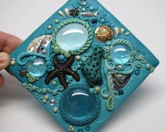Polymer Clay Mosaic Coral Reef Art Tile, Coral Reef, Starfish Tile, Sealife Art