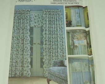 Simplicity House Window Treatment Pattern 7759 Cafe Curtain, Valance, Curtains, Scallopped Window Shade