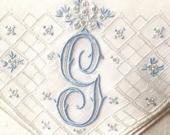 Vintage White Wedding Hanky with a Something Blue Initial G - Handkerchief Hankie
