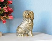 Vintage Staffordshire Style Figurine 1960s Brass Dog Miniature
