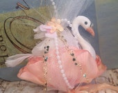 Swan ornament shabby vintage inspired romantic peach cream pale pink baby shower bridal shower decor party decor