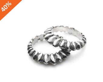 SALE 40% off, Sterling silver porcupine ring, spikes