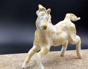 sunshine and clouds horse - flying porcelain horse - original art