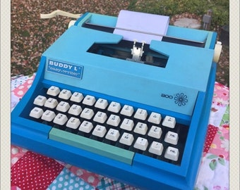 Vintage 70s BUDDY-L Typewriter - Works Great = Turquoise and Shades of Blue
