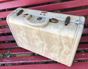 Vintage Samsonite Ivory Marbleized Small Suitcase/Luggage/Overnight Case Great for Repurposing