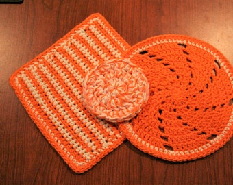 Crochet Dishcloths with pot scrubber Set