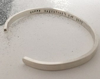 Happy valentines day - Say What You Want To Say -- Say Anything On YOUR cuff bracelet ---Custom sterling silver By - SimaG