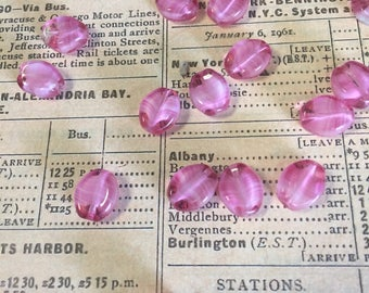 12 Oval Pink Vintage West German Beads