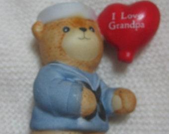 Lucy and me bear, vintage porcelian bear, I love Grandpa, grandpa gift, sailer bear