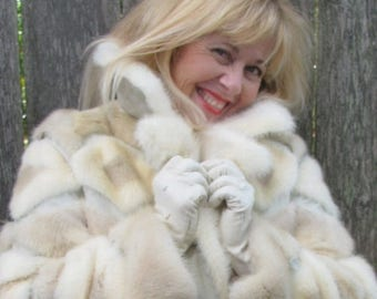 Fur Coat Women's Vintage 1970's  Disco Queen  Fashion,  Snow Bunny Style retro 70's design Ski Fashionista  Pleather