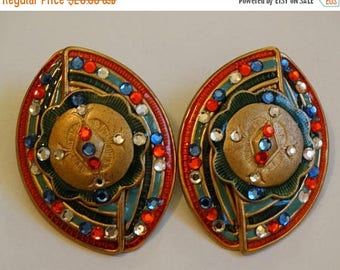 Vintage Clip on Earrings, Multi-colored rhinestone & Metal Earrings, Tribal, Ethnic Clip on earrings, lightweight
