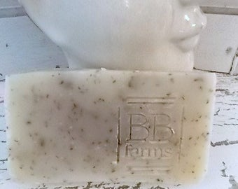 Homemade Large 5-6oz Bar of Natural Handmade Soap in ROSEMARY MINT