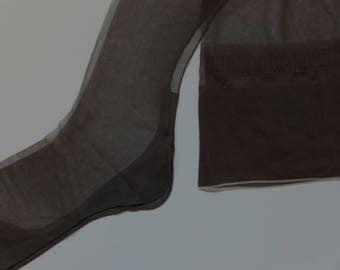 Vintage NOS Brown Van Raalte Seamed Nylon Stockings Size 10