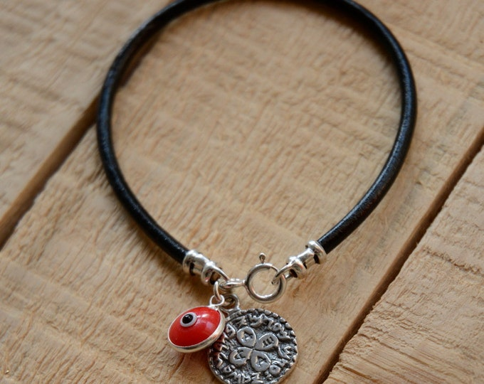 Unisex Love Solomon Seal and Red Evil Eye Charm on Leather Bracelet
