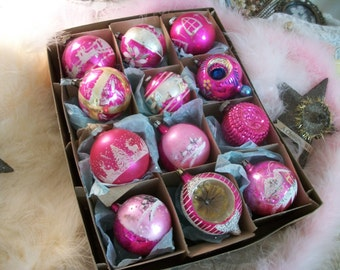 1 dozen sweet & shabby vintage ornaments, bright pink, assortment w/ cottage scenes, santa, HP, indents, old glass christmas tree ornaments