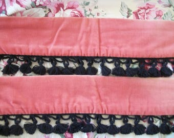 pair vintage soft velvet curtain tie backs, deep salmon pink, black braid tassel trim,custom  decorator, softly timeworn, victorian chic
