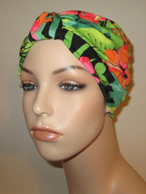 Lime Green Tropical Stretch Turban, Chemo Hat, Snood,  Alopecia Yoga Cancer