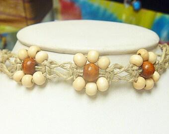 Triple Daisy Flower Hemp Necklace Choker  Girls Jewelry   handmade macrame womens  hippie  kids flowers