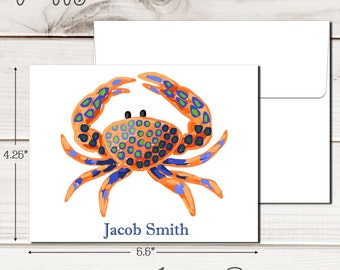 Personalized PREPPY CRAB Note Cards - Set of 12 - Blank Inside with Envelopes