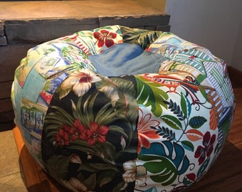 NEW Tropical Multiple Beach prints bean bag with hawaiian florals, cabana, and travel postcard Unfilled with liner