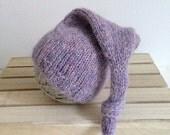 Ready to ship .... newborn pale purple stocking sleep cap