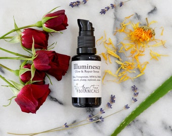 Illuminesce Glow + Repair Serum. Organic Facial Serum w/MSM, DMAE, Pomegranate + Calendula for Smoothing Fine Lines + Wrinkles - 1.8 oz