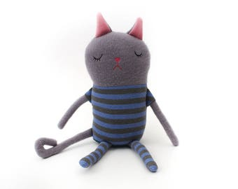 "Cat Sleepy Kitty in Pajamas ""Fred"" Cotton Monster Plush"