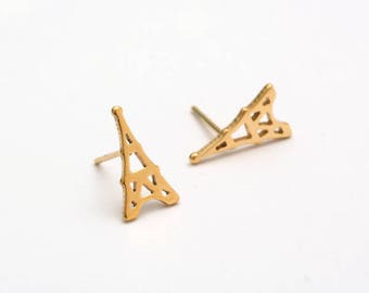 Eiffel Tower Golden Stainless Steel Stud Earring Post Finding (E39058)