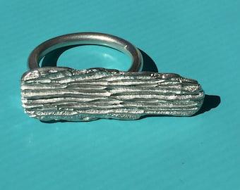 Cactus bark statement ring -- silver