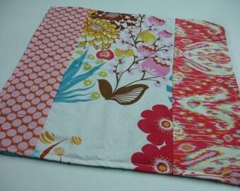 Summer Totem Minky Baby Burp Cloth 15 X 15  READY TO SHIP
