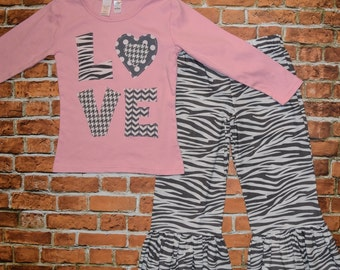 size 5/6 Girls * CLeARANCE SaLE REaDY 2 ShIP * VALeENTINES DAY shirt & pant set Grey Pink HeArT LovE