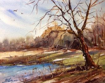 Fall Landscape, original watercolor painting