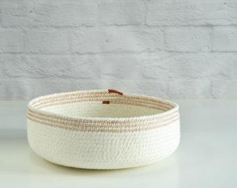 Cotton rope basket, Coil rope bowl, Key bowl, Natural decor Gift for her, Housewarming gift Scandinavian decor, Bathroom storage Rope basket
