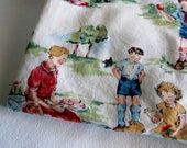 Baby Crib Sheet Dick and Jane Fabric -  Fitted Handmade - Alexander Henry Cotton - Vintage Style -  Babies Decor - Nursery Bedding