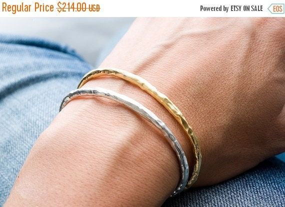 20% Off Silver and Plated Gold Raw Cuff Set