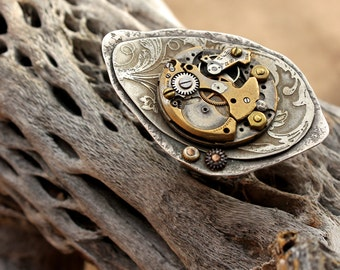Fabulous OOAK Riveted Sterling Silver Ring with Antique Watchworks + Steampunk Ring + Vintage Style + Etched Metal + Size 8