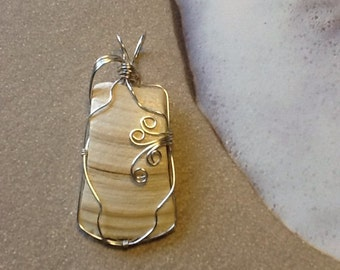 Under the boardwalk silver wire wrapped seashell pendant 17