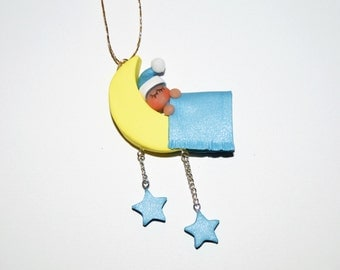 Baby Boy Sleeping in the Moon Polymer Clay Christmas Ornament