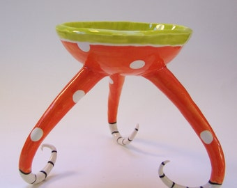 whimsical pottery Bowl w/ polkadots, stripes, curly legs, fun, colorful ceramic Home Decor -- ready to ship
