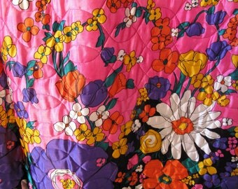 Vintage 1960's Flower Power Oriental Quilted Long Skirt Size 14 Pink Purple Gold Satin Quilted With Tag Still Attached