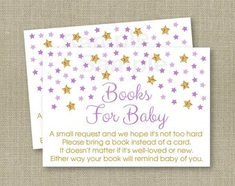 Twinkle Star Baby Shower Book Request Cards / Twinkle Star Baby Shower / Glitter Star / Purple & Gold / Printable INSTANT DOWNLOAD A112