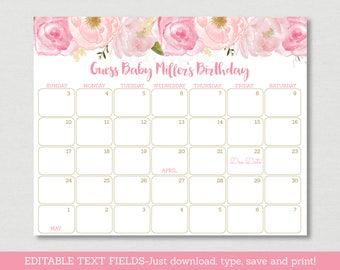 Soft Pink Floral Baby Due Date Calendar / Floral Baby Shower / Watercolor Floral / Birthday Predictions / INSTANT DOWNLOAD Editable PDF A170