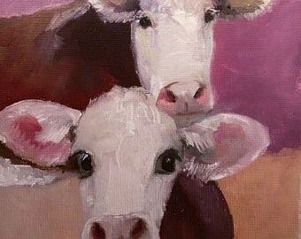 "Painting 5x5"" Hereford Cow  Calf Pair  Heifer Original Oil Painting"