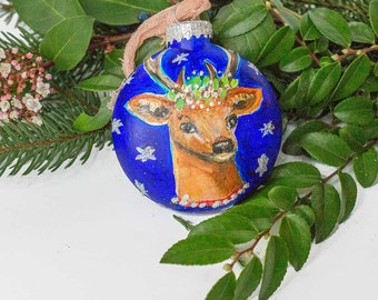Holiday Deer Head Glass Christmas Ornament Fine Art, Gift for Mom, Gift for Best Friend